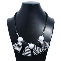 Stoff Halskette, mit Lederband, plattiert, für Frau, weiß und schwarz, 2SträngeStrang/Menge, verkauft von Menge