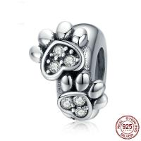 Befestiger Zirkonia Sterlingsilber Perlen, 925er Sterling Silber, plattiert, Micro pave Zirkonia, 6x3.50x9mm, verkauft von PC