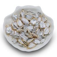 Süßwasserperlen Anhänger, Natürliche kultivierte Süßwasserperlen, mit Eisen, Vergoldung, keine, 12-18mm, Bohrung:ca. 1mm, 2PCs/Menge, verkauft von Menge