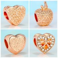 Zinklegierung Großes Loch Perlen, goldfarben plattiert, verschiedene Stile für Wahl & für Frau & mit Strass, frei von Nickel, Blei & Kadmium, 10mm, 10PCs/Menge, verkauft von Menge