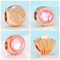 Strass Zinklegierung Perlen, plattiert, DIY & verschiedene Stile für Wahl & mit Strass, frei von Nickel, Blei & Kadmium, 10mm, 10PCs/Menge, verkauft von Menge