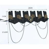 Filz Haarkranz, mit Harz Strass & Zinklegierung, handgemacht, Halloween Schmuck & für Frau, schwarz, 29x11cm, verkauft von Strang