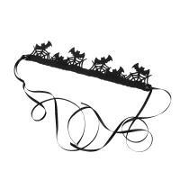 Filz Haarkranz, handgemacht, Halloween Schmuck & für Frau, schwarz, 29x6cm, verkauft von Strang