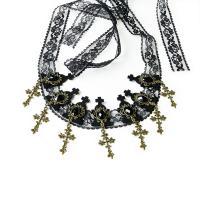 Filz Haarkranz, mit Spitze & Harz Strass & Zinklegierung, handgemacht, Halloween Schmuck & für Frau, schwarz, 4cmuff0c4.1cmuff0c112cm, verkauft von Strang