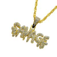 Zinklegierung Pullover Halskette, plattiert, für den Menschen & mit Strass, keine, 55x30mm, Länge:ca. 23.6 ZollInch, 5SträngeStrang/Menge, verkauft von Menge