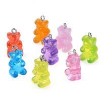 Harz Anhänger, Bär, plattiert, DIY, gemischte Farben, 17*11mm, 10PCs/Tasche, verkauft von Tasche