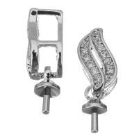 Messing Ringöse, platiniert, Micro pave Zirkonia, 16mm,6x10x5mm,1mm, Bohrung:ca. 3x4mm, 20PCs/Menge, verkauft von Menge