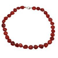 Koralle Halskette, Messing Karabinerverschluss, Platinfarbe platiniert, für Frau, rot, 12*7mm-13*8mm, verkauft per ca. 17.7 ZollInch Strang
