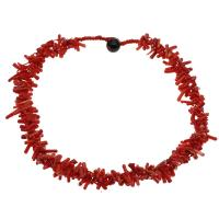 Coral Strickjacke-Kette Halskette, Koralle, mit Nylonschnur & Schwarzer Achat, für Frau, rot, 9*3mm-17*4mm, verkauft per ca. 23.6 ZollInch Strang