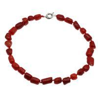 Koralle Halskette, Messing Federring Verschluss, Platinfarbe platiniert, für Frau, rot, 12*11mm-15*14*12mm, verkauft per ca. 19.6 ZollInch Strang
