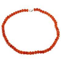 Koralle Halskette, Messing Karabinerverschluss, Platinfarbe platiniert, für Frau, rote Orange, 9*5mm, verkauft per ca. 17.7 ZollInch Strang