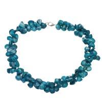 Koralle Halskette, Messing Karabinerverschluss, Platinfarbe platiniert, für Frau, himmelblau, 12*9*4mm-17*13*5mm, verkauft per ca. 17.7 ZollInch Strang