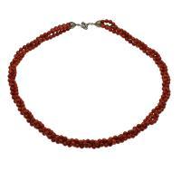 Koralle Halskette, Messing Federring Verschluss, antik silberfarben plattiert, für Frau, rot, 5mm, verkauft per ca. 21.6 ZollInch Strang