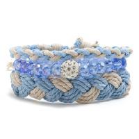 Gewachsten Baumwollkordel Armband-Set, mit Hanfgarn & Kristall, für Frau, blau, frei von Nickel, Blei & Kadmium, 220mm, 3SträngeStrang/setzen, verkauft von setzen