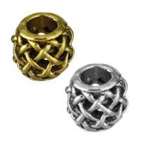 Zinklegierung Großes Loch Perlen, plattiert, hohl, keine, frei von Nickel, Blei & Kadmium, 9.50x8.50x8.50mm, Bohrung:ca. 4.5mm, 50PCs/Menge, verkauft von Menge