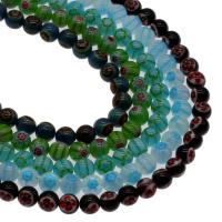Millefiori Lampwork Perle, rund, keine, 6mm, Bohrung:ca. 1mm, Länge:15.7 ZollInch, 5SträngeStrang/Tasche, verkauft von Tasche