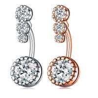 Edelstahl -Bauch-Ring, plattiert, Micro pave Zirkonia & für Frau, keine, 9x24mm, verkauft von PC