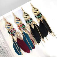 Zinklegierung Tropfen Ohrring, mit Seedbead & Feder, plattiert, für Frau, keine, frei von Nickel, Blei & Kadmium, 137x21mm, verkauft von Paar