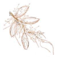 Braut Haar Blumen, Zinklegierung, mit Seedbead, goldfarben plattiert, für Frau & mit Strass, frei von Nickel, Blei & Kadmium, 100x180mm, verkauft von PC