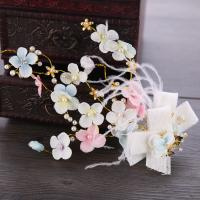 Braut Haar Blumen, Zinklegierung, mit ABS-Kunststoff-Perlen & Stoff, goldfarben plattiert, Koreanischen Stil & für Frau, frei von Nickel, Blei & Kadmium, 260x150mm, verkauft von PC