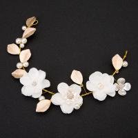Braut Haar Blumen, Zinklegierung, mit ABS-Kunststoff-Perlen & Stoff & Harz, goldfarben plattiert, Koreanischen Stil & für Frau, frei von Nickel, Blei & Kadmium, 50x325mm, verkauft von PC