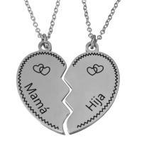 Edelstahl Ehepaar Halskette, mit Harz, mit Verlängerungskettchen von 2Inch, Oval-Kette, originale Farbe, 16x31mm,1.5mm,17.5x31.5mm,1.5mm, Länge:ca. 2 ZollInch, 2SträngeStrang/setzen, verkauft von setzen