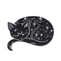 Zinklegierung Broschen, Katze, plattiert, für Frau, schwarz, frei von Nickel, Blei & Kadmium, 32x20mm, verkauft von PC