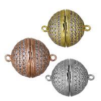 Messing Magnetverschluss, plattiert, verschiedene Größen vorhanden & Micro pave Zirkonia, keine, frei von Nickel, Blei & Kadmium, Bohrung:ca. 1.5mm, 5PCs/Menge, verkauft von Menge