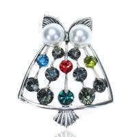 Zinklegierung Broschen, mit Kunststoff Perlen, plattiert, für Frau & mit Strass, farbenfroh, frei von Nickel, Blei & Kadmium, 40x49mm, verkauft von PC