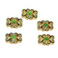 Zinklegierung hohle Perlen, goldfarben plattiert, Emaille, frei von Nickel, Blei & Kadmium, 12x17.50x5mm, Bohrung:ca. 2.3mm, ca. 270PCs/kg, verkauft von kg