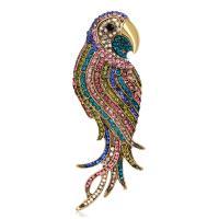 Zinklegierung Broschen, Vogel, plattiert, für Frau & mit Strass, keine, frei von Nickel, Blei & Kadmium, 30x87mm, 5PCs/Menge, verkauft von Menge