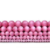 Cats Eye Perlen Schmuck, Katzenauge, rund, poliert, DIY & verschiedene Größen vorhanden, Rosa, Bohrung:ca. 1mm, verkauft von Strang