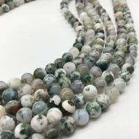 Baum Achat Perlen, Baumachat, rund, poliert, DIY & verschiedene Größen vorhanden, Bohrung:ca. 1mm, verkauft von Strang