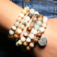 Amazonit Buddhistische Perlen Armband, mit Holz & Messing, antik silberfarben plattiert, unisex, verkauft per ca. 37.4 ZollInch Strang