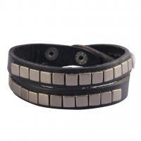 Zinklegierung Wrap Armband, mit PU Leder, plattiert, unisex, keine, frei von Nickel, Blei & Kadmium, 45cm, verkauft per ca. 17.6 ZollInch Strang