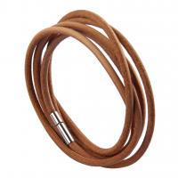 PU Leder Wrap Armband, mit Zinklegierung, plattiert, unisex, keine, 1000x3mm, verkauft von Strang