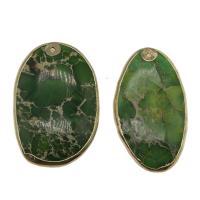 Imperial-Jaspis Anhänger, Impression Jaspis, mit Messing, goldfarben plattiert, grün, 52*29*6mm-52*33*6mm, Bohrung:ca. 1.5mm, verkauft von PC