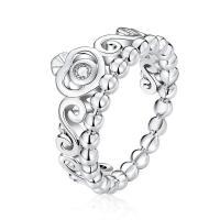 Zirkonia Micro Pave Sterling Silber Ringe, Messing, platiniert, verschiedene Größen vorhanden & Micro pave Zirkonia & für Frau, frei von Nickel, Blei & Kadmium, 2.50mm, Größe:5-9, verkauft von PC