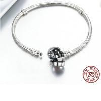 Zirkonia-Mikro pflastern Sterlingsilber -Armband, 925er Sterling Silber, plattiert, verschiedene Größen vorhanden & Schlangekette & Micro pave Zirkonia & für Frau & Emaille, verkauft von PC
