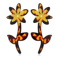 Acryl Tropfen Ohrring, mit Zinklegierung, Blume, plattiert, für Frau, keine, 38x85mm, verkauft von Paar