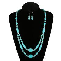 Türkis Schmucksets, Ohrring & Halskette, mit Zinklegierung, für Frau, keine, frei von Nickel, Blei & Kadmium, 51cm-80cm, verkauft von setzen