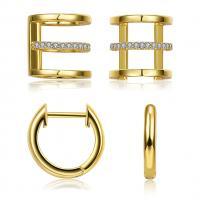 Messing Ohrring-Set, goldfarben plattiert, Micro pave Zirkonia & für Frau & hohl, frei von Nickel, Blei & Kadmium, 13x13mm, 10.5x10.5mm, verkauft von setzen