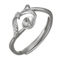 925er Sterling Silber Ringfassung, Micro pave Zirkonia, Silberfarbe, 8.5mm,4mm,0.5mm, Größe:6, 5PCs/Menge, verkauft von Menge