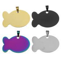 Edelstahl Tieranhänger, Fisch, plattiert, keine, 38x25x1mm, Bohrung:ca. 3.5x6mm, 10PCs/Menge, verkauft von Menge
