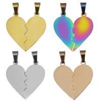 Edelstahl -Paar-Anhänger, Herz, plattiert, keine, 14x26x1.2mm,13x26x1.2mm, Bohrung:ca. 4x6mm, 10SetsSatz/Menge, 2PCs/setzen, verkauft von Menge