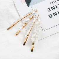 Haarschieber, Zinklegierung, mit Kunststoff Perlen, plattiert, für Frau, goldfarben, frei von Nickel, Blei & Kadmium, verkauft von Paar