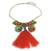 Zinklegierung Franse Halskette, mit Baumwollfaden & Plüsch, mit Verlängerungskettchen von 7.5cm, goldfarben plattiert, für Frau, farbenfroh, frei von Nickel, Blei & Kadmium, 108x119x7mm, verkauft per ca. 15.75 ZollInch Strang