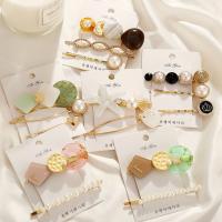 Haarschieber, Zinklegierung, mit Kunststoff & Kunststoff Perlen, plattiert, verschiedene Stile für Wahl & für Frau, goldfarben, frei von Nickel, Blei & Kadmium, verkauft von setzen