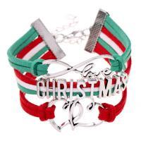 Zinklegierung kombiniertes Armband, mit Wollschnur, mit Verlängerungskettchen von 5cm, Platinfarbe platiniert, unisex & 3-Strang, frei von Nickel, Blei & Kadmium, Länge:ca. 7 ZollInch, 2SträngeStrang/Menge, verkauft von Menge