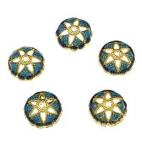 Zinklegierung Perlenkappe, Blume, goldfarben plattiert, Emaille & hohl, frei von Nickel, Blei & Kadmium, 15x5mm, Bohrung:ca. 1.88mm, 10PCs/Tasche, verkauft von Tasche